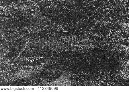 Grunge White Color Chalk Texture On Blackboard Or Chalkboard Background With Copy Space