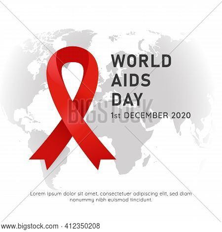 World Aids Hiv Day Event Poster With Red Ribbon Symbol And White Background World Map Vector Illustr