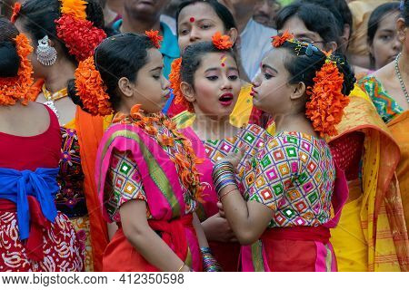 Kolkata, India - March 21st 2019 : Beautiful Young Girls In Spring Festive Make Up, In Playful Mood