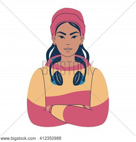 Portrait Of A Young Asian Woman In A Colorful Hoodie Wearing A Beanie And Headphones. Cartoon Teenag