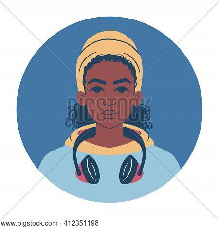 Portrait Of A Young African Woman In A Colorful Hoodie Wearing A Beanie And Headphones. Cartoon Teen
