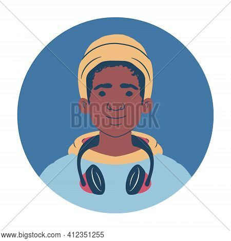 Young Man Portrait. Avatar Of An African Teenager In Hoodie Wearing A Beanie And Headphones. Flat St