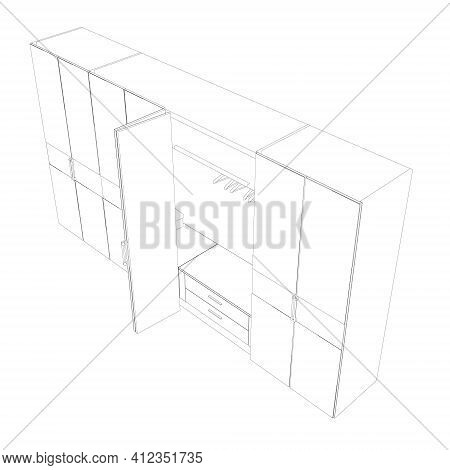 The Outline Of The Wardrobe. Hangers In An Empty Closet. Vector Illustration