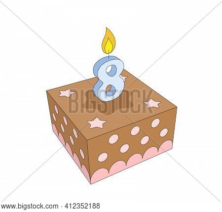 Cute Eight Year Old Girl Or Boy Chocolate Birthday Cake With Lighted Blue Candle And Pink Stars And