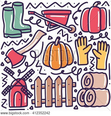 Doodle Set Of Farming And Gardening Tools Hand Drawing With Icons And Design Elements