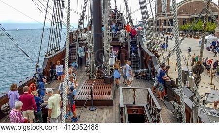 Chicago, Il July 30, 2016 Main Deck Of El Galeón Andalucía From Spain A Replica Of A 16th-17th Centu