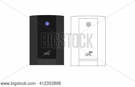 A Set Of Simple Uninterruptible Power Supply Unit In Contour And Color Design, With A Large Button I