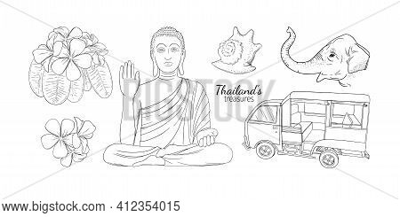 Thailand Vacation Symbols With Elephant, Seashells, Flowers And Buddah. Engraved Illustration For Th