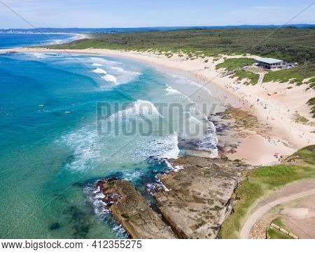 Aerial View Of Soldiers Beach On The New South Wales Central Coast At Norah Head