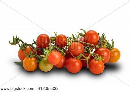 Pile Of Freshly Harvested Ripe And Juicy Tomatoes On White Background With Clipping Path. Side View