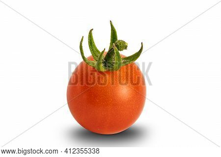 Side View Of Single Freshly Harvested Red, Ripe, Juicy Tomato Isolated On White Background With Clip