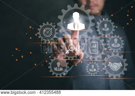 Human Resources Management And Recruitment Business Process Concept With Hr Manager Selecting Candid