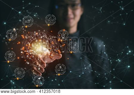 Woman Pressing On Virtual Earth With Energy Resources Icon Around Earth. Earth Day. Environment And