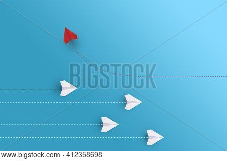 Creative Paper Planes On Blue Background. Leadership And Success Concept.group Of White Paper Planes