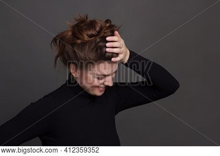 Young Brunette Woman, With Gathered Hair Hairstyles