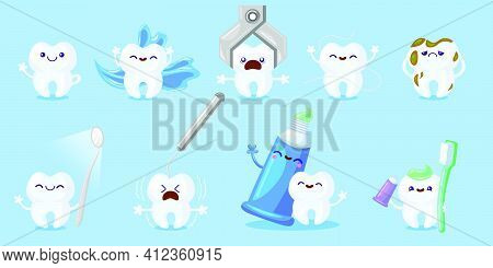 Cartoon Tooth Care Set. Happy Funny Tooth With Toothbrush, Paste, Floss, Sad Molar With Cavity Or De