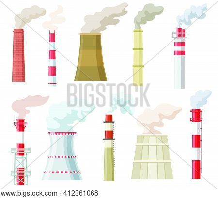 Colorful Industrial Chimneys With Smoke Flat Set For Web Design. Cartoon Pipes With Steam Of Power E