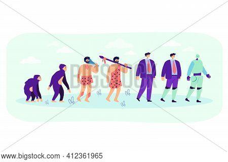 Human Evolution To Robot Line. Primate Monkey, Ancestor, Caveman, Business Man, Man With Bionic Limb