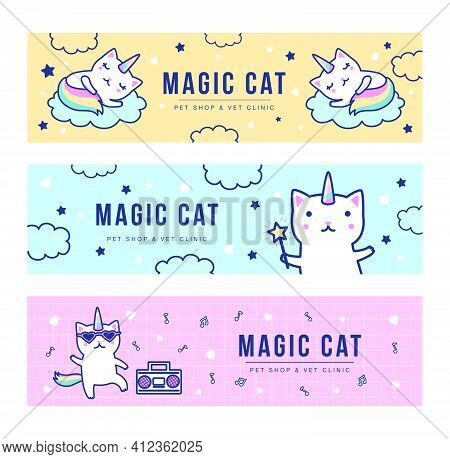 Magic Unicorn Cats Banners Set. Cute Dancing And Sleeping Baby Caticorns With Rainbow Tails Vector I
