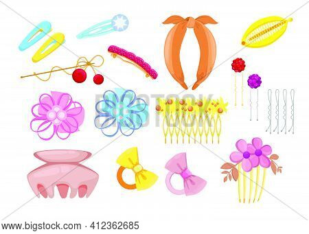 Stylish Hair Accessories Flat Illustration Set. Cartoon Different Head Bands, Plastic Clips And Hoop