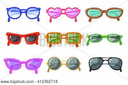 Sunglasses In Colorful Rim Set. Heart Shaped, Round, Aviator, Cat Eye, Retro Hipster Trendy Eyewear