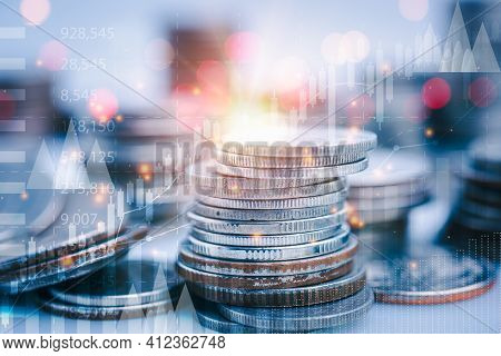 Rows Of Coins For Financial Stock Market Graph And Rows Of Coins Growth , Money , Investment And Bus