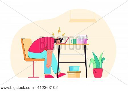 Tired Man Sleeping On Laptop Keyboard Flat Vector Illustration. Cartoon Exhausted Male Character On