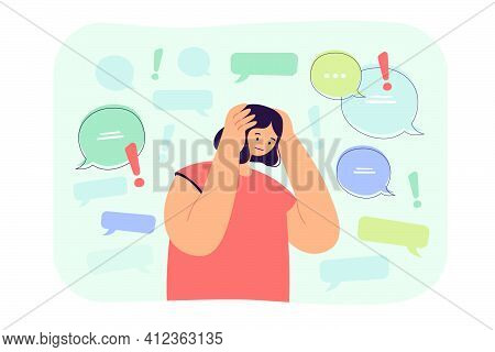 Too Much Information Or Spam Concept. Sad Social Media Internet User Holding Head, Trying To Stop Ho