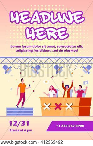 Vocal Competition Event. Performer Singing On Stage Before Jury Celebrities. Vector Illustration For