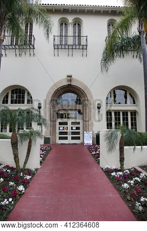 March 12, 2021 - Whittier, California: Whittier College. Mendenhall one of the buildings at Whittier College. Editorial Use Only.