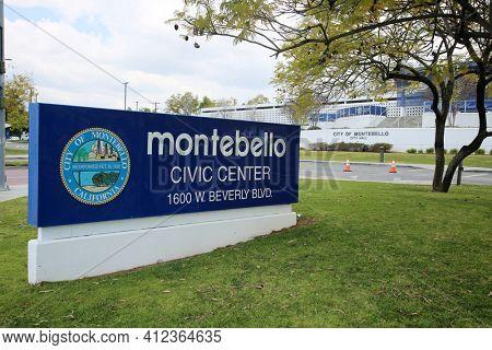 March 12, 2021 - Montebello, California:  Montebello, California Civic Center and Town Hall. Montebello is in the 32nd Senate District. 2010 census, the population was 62,500. Editorial Use Only.