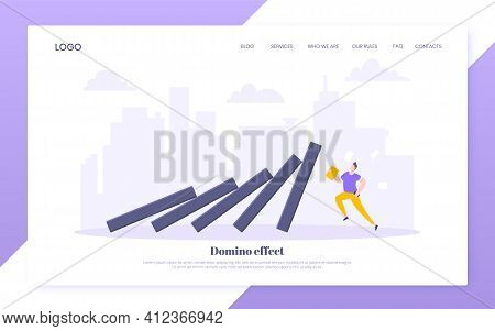 Domino Effect Or Business Resilience Metaphor Vector Illustration Concept.