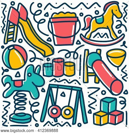Hand Drawn Childrens Playground Doodle Set With Icons And Design Elements