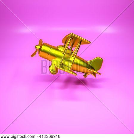 Three-dimensional Model Of A Golden Biplane On A Purple Background. 3D Render Illustration