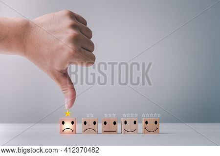 Customer Service Satisfaction Survey Concept. Business People Or Customers Are Thumbs Down To Show T