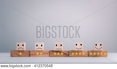 Feedback Rating And Positive Customer Review Experience, Service And Satisfaction, Wood Block With 1