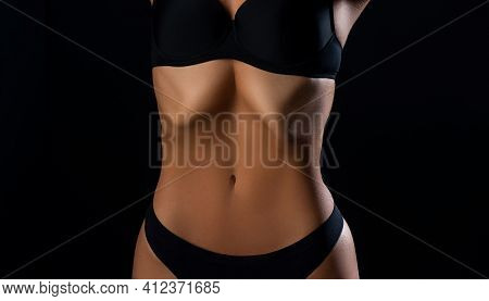 Dieting And Healthy Concept. Woman Slim Belly. Losing Weight. Fat Lose, Liposuction And Cellulite Re