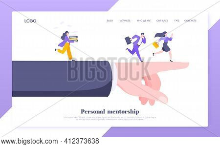 Business Mentor Helps To Improve Career And Choosing New Way Vector Illustration.