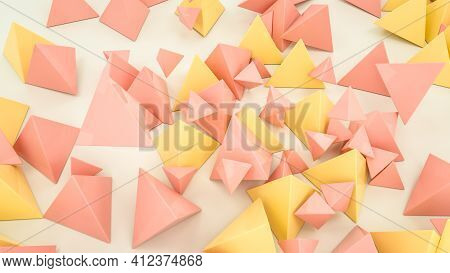 Beige And Orange Pyramids Are Scattered On A White Background. Abstract Background. 3D Render Illust