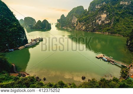 View Of Bo Hon Island At Halong Bay In Vietnam