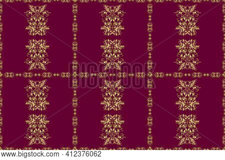 Raster Illustration. Raster Abstract Background With Repeating Elements. Golden Seamless Pattern On