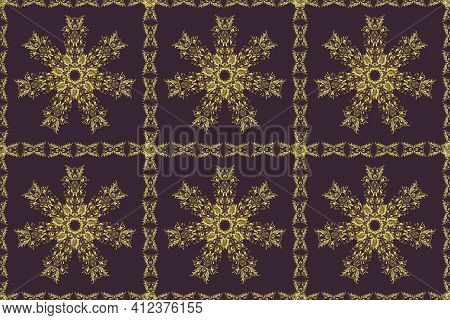 Antique Golden Repeatable Wallpaper. Golden Element On Purple And Neutral Colors. Damask Seamless Re