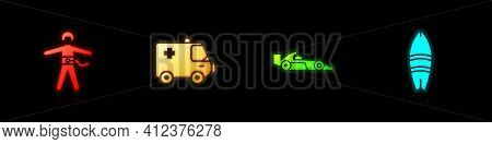 Set Bungee Jumping, Ambulance And Emergency Car, Formula 1 Racing And Surfboard Icon. Vector