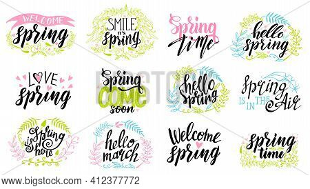 Spring Time Lettering Typography Set. Spring Lettering Isolated Set With Decorative Elements. Callig
