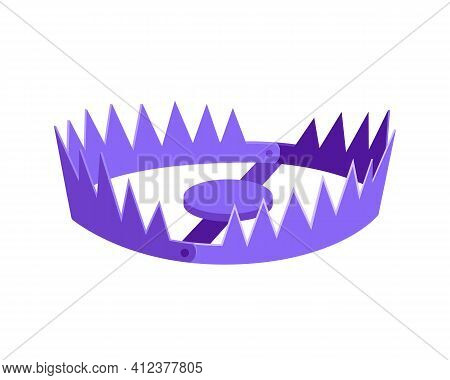 Metal Bear Trap Icon Sign Flat Style Design Vector Illustration Isolated On White Background.