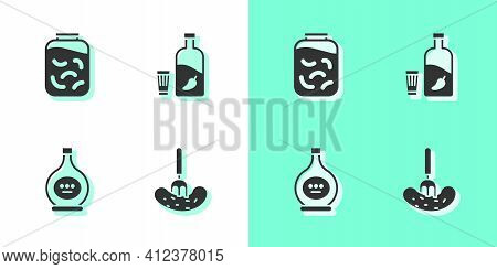 Set Pickled Cucumber On A Fork, Cucumbers In Jar, Bottle Of Cognac Brandy And Vodka With Pepper Glas