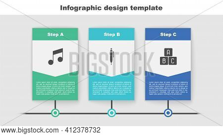 Set Music Note, Tone, Pen And Abc Blocks. Business Infographic Template. Vector