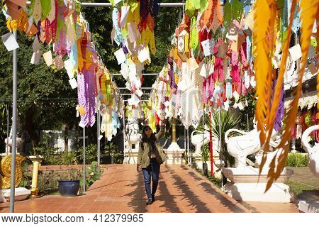 Travelers Thai Women People Travel Visit Multicolor Colorful Paper Lamp Traditional Lanna Style Yee