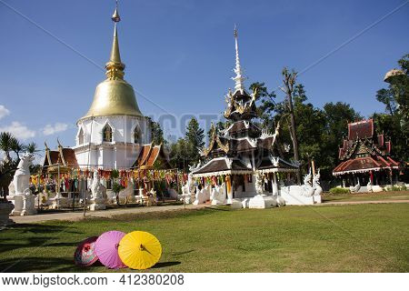 Ancient Stupa Chedi Pagoda Shrine For Thai People And Foreign Travelers Travel Visit Respect Praying