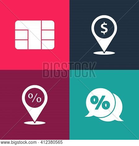 Set Pop Art Discount Percent Tag, Location With Discount, Cash Location And Credit Card Chip Icon. V